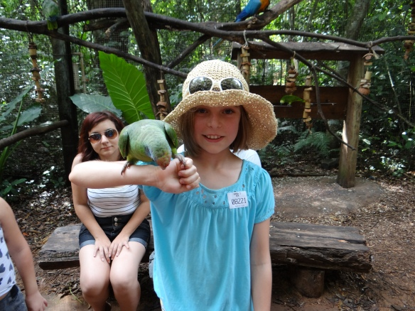 MAdie with Green Parrot